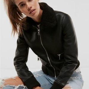 Express Faux Fur (Minus the) Leather Aviator Jackt